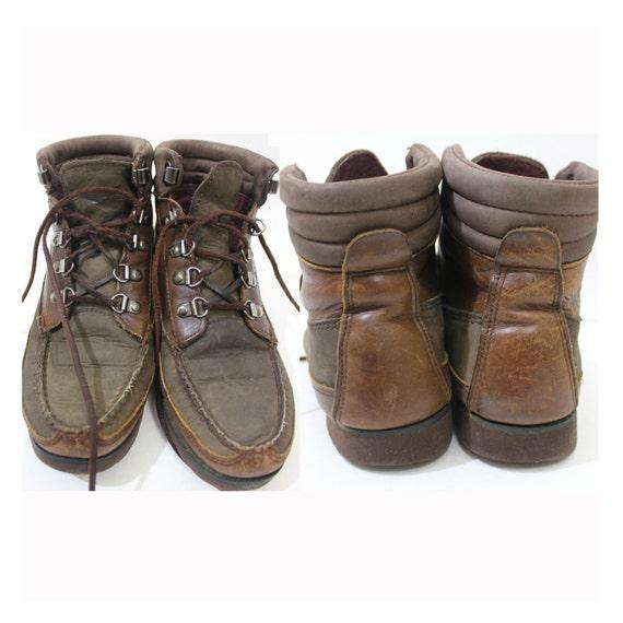 vintage retro eddie bauer leather boots shoes size s