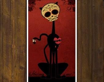 BOY CAT Calaca - PRINT of original illustration - 5.9 in x 10.6 in - Day of the Dead - Dia de los muertos