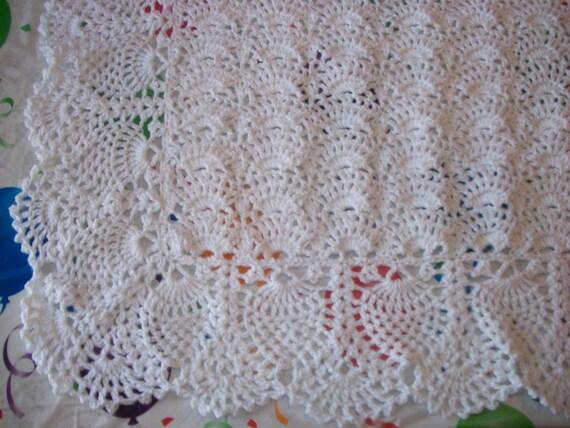 Items similar to Elegant Crocheted White Blanket Perfect ...