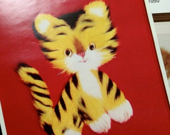 Vintage Punch Embroidery by Kazari fuzzy and fancy tiger kitten  F 1059