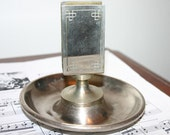 Vintage Antique Metal Ashtray with Match Box Holder