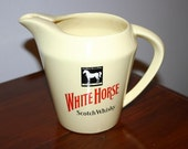 Vintage Wade PDM Rare White Horse Whiskey Unique Ceramic Pitcher Made in England