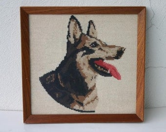 Vintage Framed embroidery Cross Stitches Dog Picture