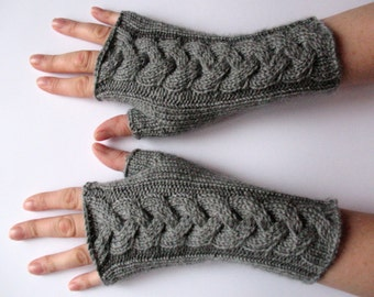 Fingerless Gloves Long Dark Gray 10 inch Mittens Arm Warmers, Acrylic