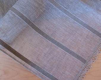 "Linen Table Runner Tablecloth Natural White Gray Striped Linen Lace 61"" x 16.7"""