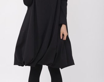 Pile collar cotton dress in black