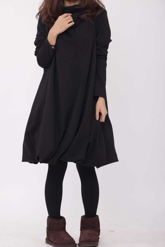 Pile collar cotton dress in black