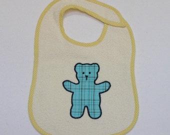 Teddy Bear Toddler Bib -  Blue Teddy Bear Applique Cream Terrycloth Toddler Bib