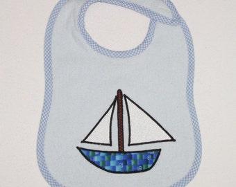Sailboat Toddler Bib - Sailboat Applique Blue Terrycloth Toddler Bib