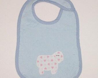 Lamb Toddler Bib - Little Lamb Applique Blue Terrycloth Toddler Bib