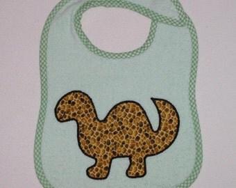 Dinosaur Toddler Bib - Dinosaur Applique Green Terrycloth Toddler Bib