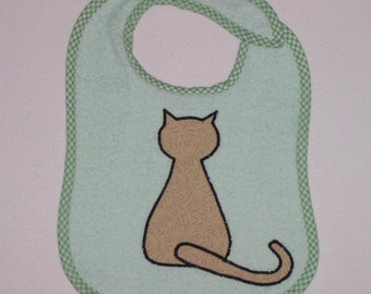 CatToddler Bib - Sitting Cat Applique Green Terrycloth Toddler Bib