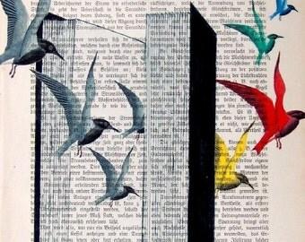 BEST SELLER Novel Art Book Romance Art Literature Dictionary Art Novel Print Poster Bestseller Birds Wall Decor