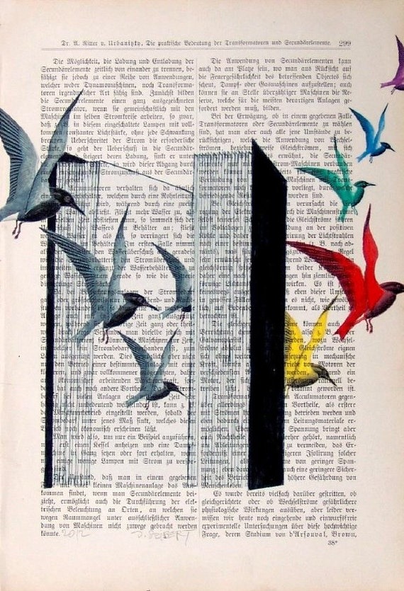 BEST SELLER Novel Art Book Romance Art Literature Dictionary Art Novel Print Poster Bestseller Birds Wall Decor