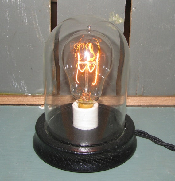 edison bell jar glass dome desk lamp table accent light carbon. Black Bedroom Furniture Sets. Home Design Ideas