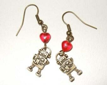 Robot Earrings, Retro Style Robot Jewelry, Robot Hearts, Dangle Earrings, Charm Drop Earrings, Geek Jewelry, Retro Robots, Quirky Jewelry