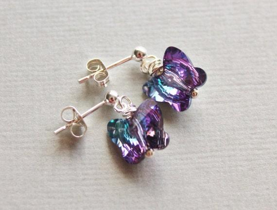 Crystal Butterfly Earrings - Sterling Silver Post.Aqua Purple.Colorful.Petite Dangle Earring.Gift for Her.Flower Girl.Swarovski Crystal