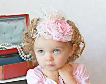 Pink Rosette Headband - Photo Prop - Baby Headband - Flower Girl Headband - Vintage Headband