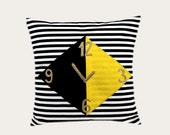 "Decorative Pillow case, Thick Cotton Black-White striped Throw pillow case with a clock decoration, 18""x 18"" , Cushion case."