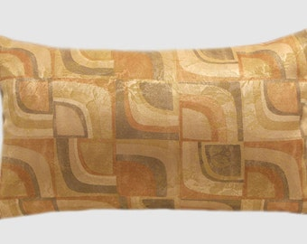 "Decorative Pillow case, Beige Honey Brown color with Geometric pattern fabric Lumbar pillow case, fits 12"" x 20"" insert."