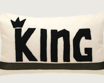 """Decorative Pillow Case, White cotton fabric Lumbar pillow case with a Black color word """"KING"""" accent, fits 12""""x 20"""" insert, Home Decor"""