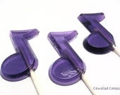 12 MUSICAL NOTE Hard Candy LOLLIPOPS - Any Color and Flavor