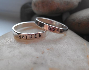 Stacking Silver Name Rings - Gold Name Rings - Gifts for Her - Mother's Day Gifts for Mom - Hand Stamped Rings -The Charmed Wife - Grandma