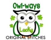 St. Patrick's Day Owl Applique and Machine Embroidery Digital Design File 5x7 6x10 7x11
