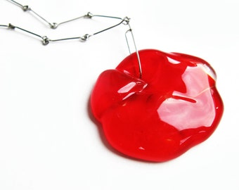 Big red glass pendant necklace an a long handmade stainless steel chain OOAK