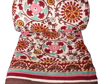 "Twin Quilt - Uzbek 100% hand block printed cotton - 70"" x 108"""