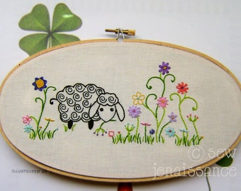 Embroidery Pattern PDF Spiral Sheep and Flowers Pattern