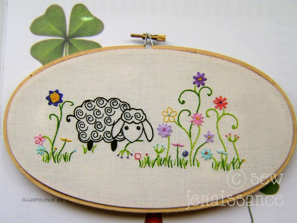 Embroidery Pattern PDF Spiral Sheep And Flowers By
