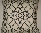 Two 26 x 26  Custom Designer Decorative Pillow Covers - Trellis Design - Black/Creamy White