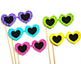Photo Booth Props - Set of 5 heart sunglasses - Lattice Design - bright colors, fun for summer