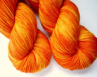 Hand Dyed Sock Yarn - Superwash Merino Sock Weight in Marigold Colorway