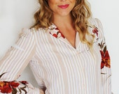 Floral and Striped Button Down Blouse