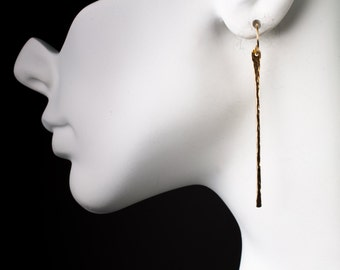 Hammered Stick Earrings 14K Gold Fill and .999 Fine Silver