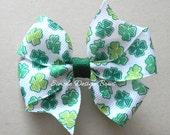 """St Patricks Day Hair Bow - Green Shamrocks - 3"""" Pinwheel Bow - Shamrock Hair Bow"""