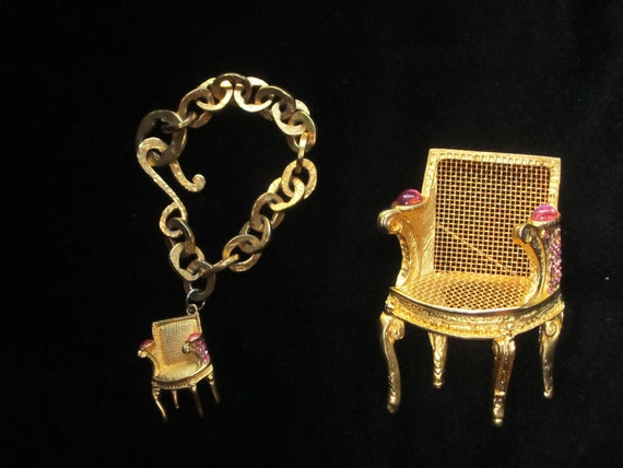 Limited Edition Karl Lagerfeld 1980's Gold Louis chair and  jeweled Broach and Bracelet Set