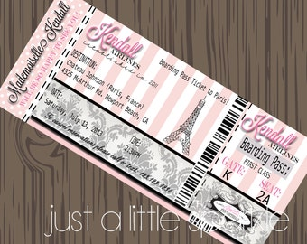 Paris Boarding Pass Invitation, DIY, Boarding Pass invite, Paris Birthday Party, Pairs Favor tags