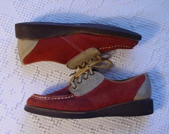 Two Tone Suede Saddle Shoes