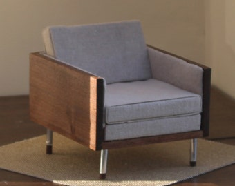 1:6 scale chair for midcentury modern diorama for BJD Barbie playscale