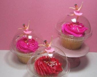48  Clear Cupcake Favor Boxes - With Center Hole in Lids for Cupcake Toppers