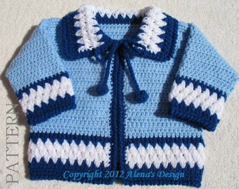 Crochet Pattern 046 - Blue Baby Jacket - 3, 6, 12, 24 months - Baby Jacket Toddler Sweater Baby Boy Baby Girl Winter Sweater Cardigan Coat