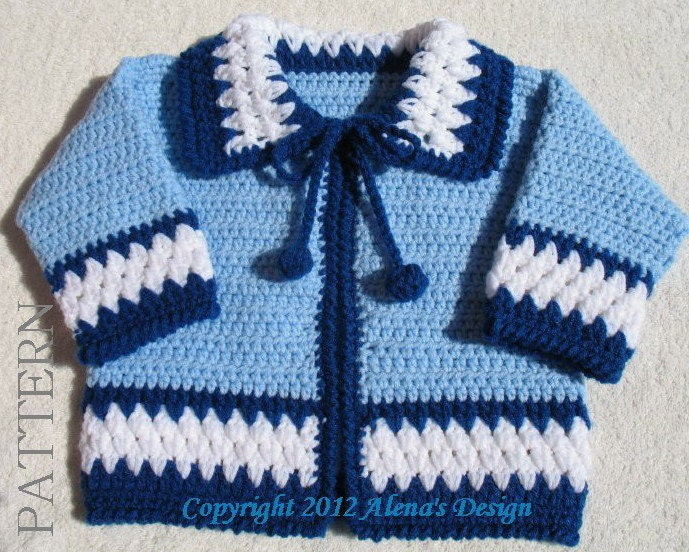 Crochet Baby Boy Sweater Free Patterns : Crochet Pattern 046 Blue Baby Jacket 3 6 12 24 months