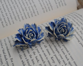 Blue and White BIG Rose Cabochon Rings