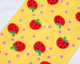 Baby Leg Warmers:  YELLOW With RED STRAWBERRIES Baby Legs - Available with lace or tutu ruffles