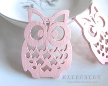 4 PCS - 36x50mm Pretty Pink  Lucky Owl Wooden Charm/Pendant MH105 05