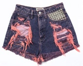 SALE- Vintage High Waisted Dyed and Studded Guess Denim Shorts