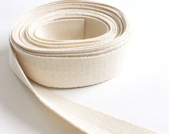 Cotton Twill Herringbone Tape Ribbon in Natural - sold by the yard